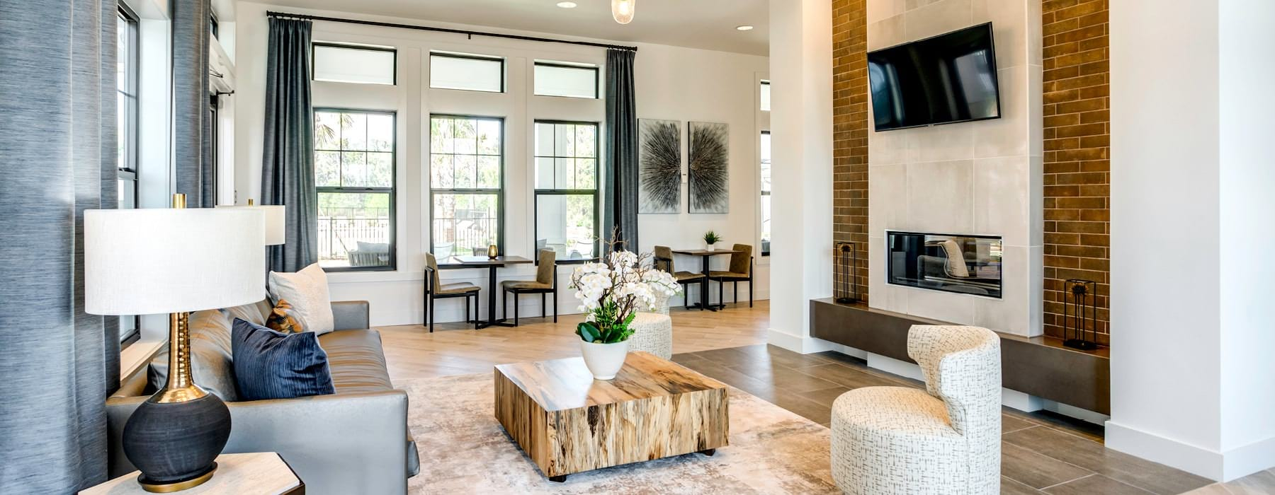 large windows brighten resident clubhouse